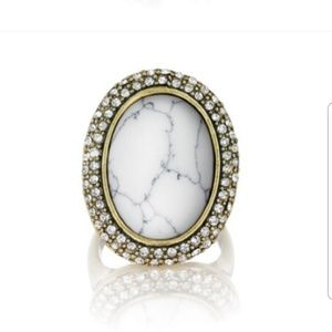 Chloe + Isabel Jewelry - Howlite Pavé Oval Ring